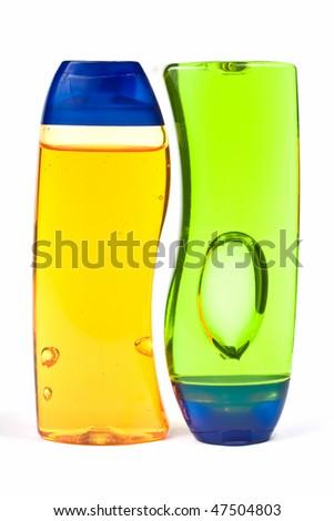 Two Shampoo Bottles Isolated On white Background