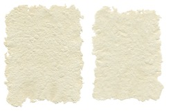 Two sheets of handmade paper, isolated on white background