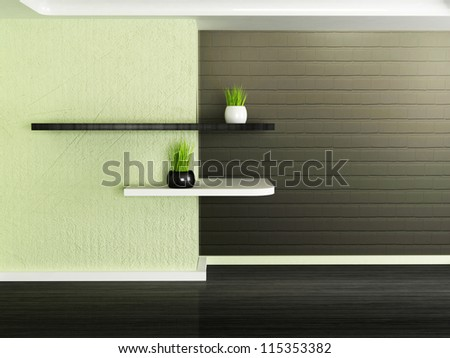 two shelves on the wall, rendering
