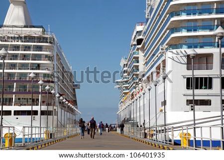 two ships in pier of Tallinn,sunny
