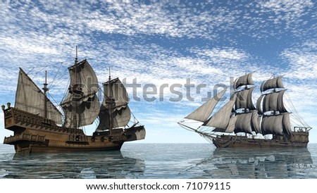 two ships in the sea