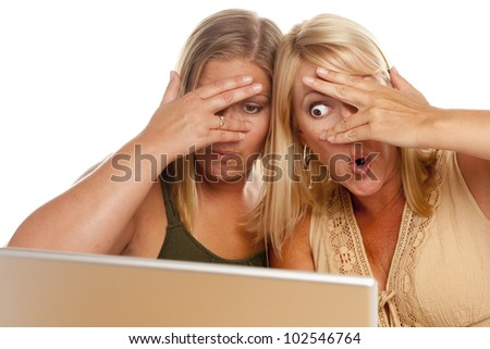 Two Shocked Women Using Laptop Isolated on a White Background.