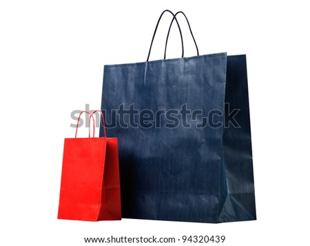 Two shopping bags, red and blue
