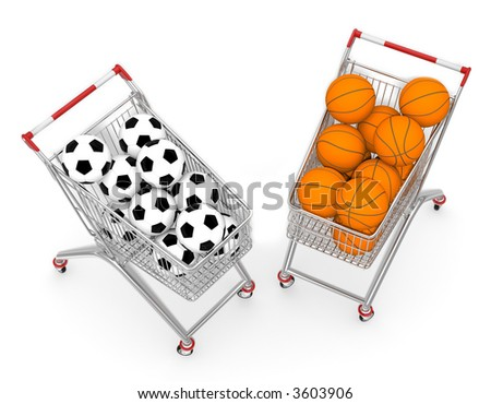 Two shopping cart filled by football and basketball ball