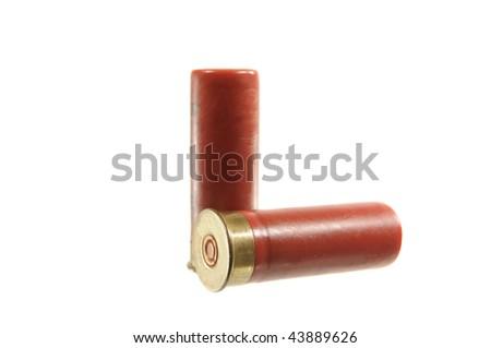 Two shotgun shells isolated on white