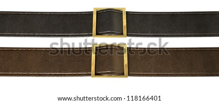 Two side-by-side seamed leather strips in black and brown threaded through a gold belt buckle on an isolated background