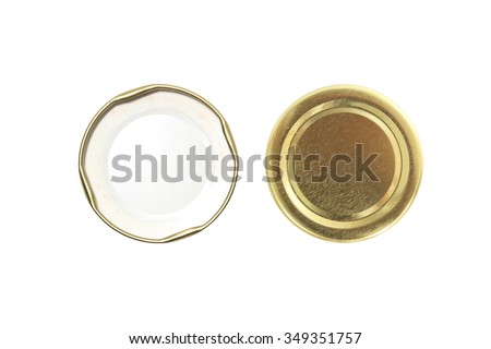 two side lid of jar isolated on white Stock foto ©