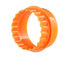 Two-sided orange round cookie cutter, cut out