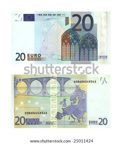 two sides of twenty Euro currency banknotes isolated on white background