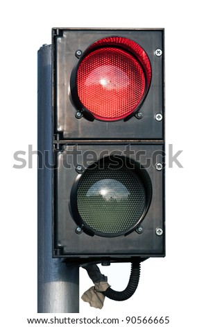two signal red and green specific traffic light isolated over white