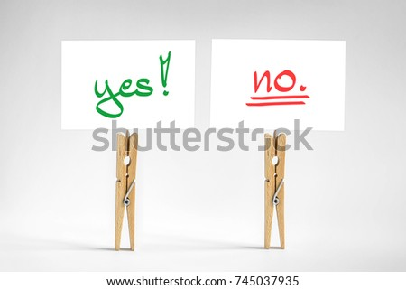 two signs with yes and no choice, decision concept