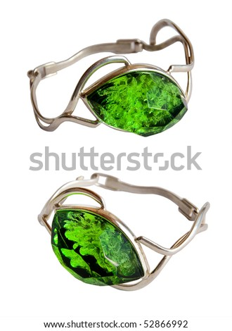 Two Silver braslets green stone on a white background