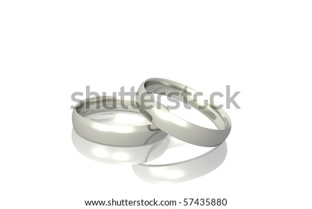 Two silver or platinum rings isolated on a white background.