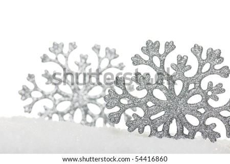 two silver snowflakes