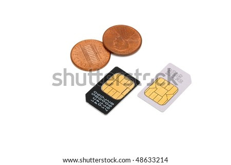 Two SIM cards for cellular phones and Americal cents isolated