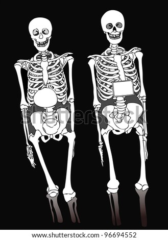 Two skeletons on a dark background