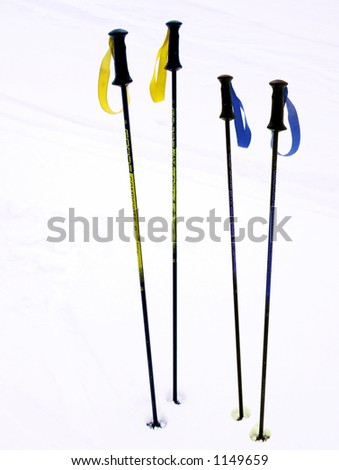 Two ski poles in snow