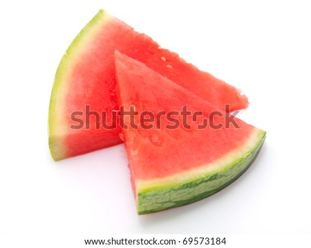 two slice of water-melon on white background