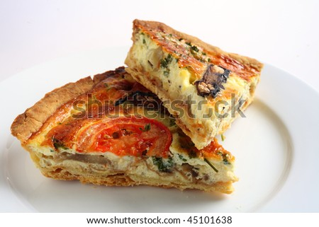 Two slices of a vegetarian mushroom quiche on a white plate