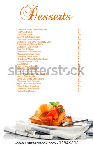 Two slices of french toast with papaya, vanilla ice cream, caramel sauce and mint leaf on a white background with a big area for your text as a studio shoot