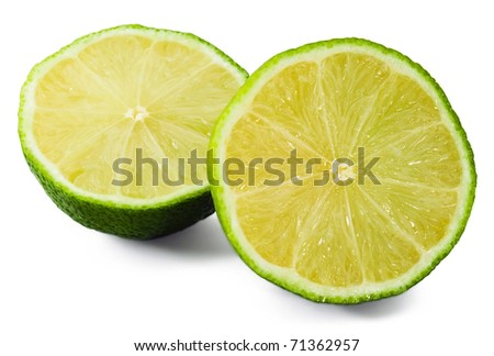 Two slices of lime on white