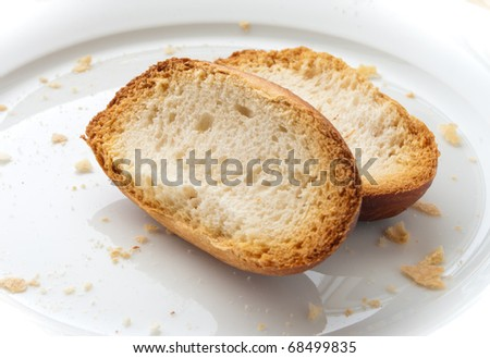 two slices of roasted baguette on a white plate