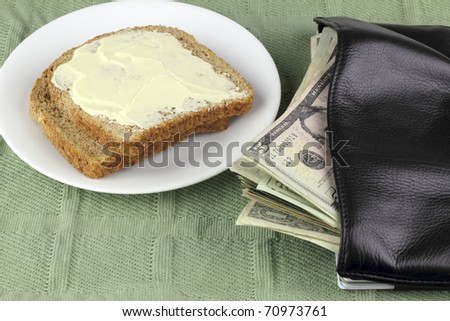 Two slices of toasted whole wheat bread on a plate with American money spilling out of a wallet.