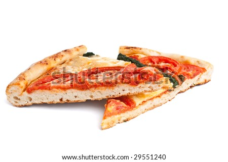 two slices of vegetable pizza on white background