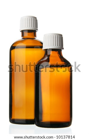 Two small bottles with drug isolated over white background