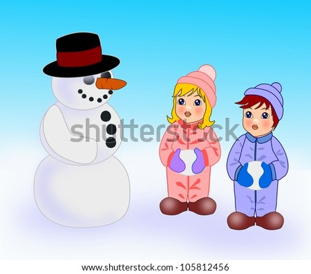 Two small children who are  standing and looking at snowman.