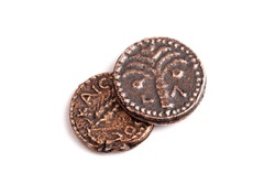 Two Small Copper Coins or Widows Mites Isolated on a White Background