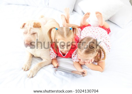 Stock Photo Two small kids watch cartoons on the tablet. Dog. The concept of childhood, lifestyle, game.