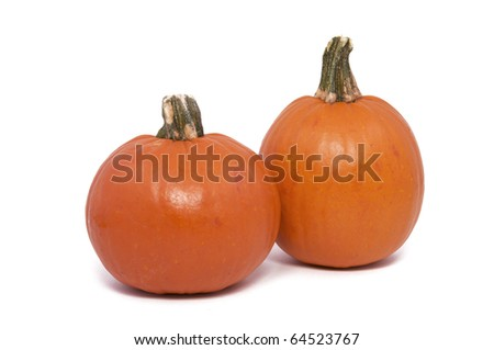 Two Small Pumpkins Isolated against a White Background