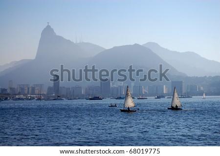 two small sailboats in Rio de Janeiro, Brazil