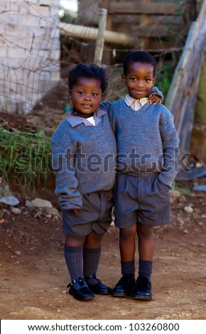 Two small students - stock photo