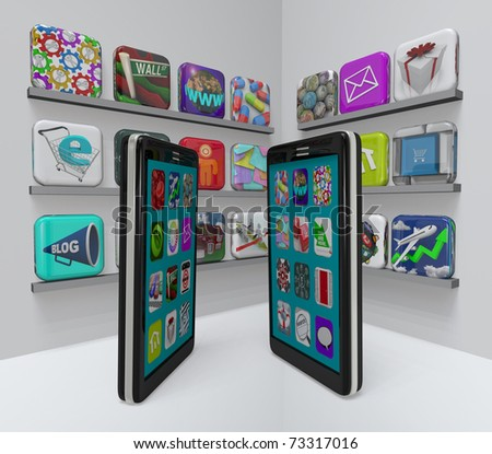 Two smart phones stand in an app store, perusing the marketplace for new apps to download