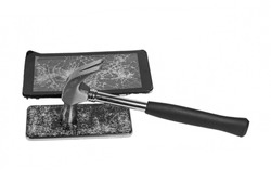 Two smartphones with broken screens and a hammer with a plastic handle isolated on white background