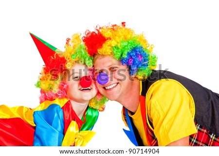 Two smiling clowns, over white