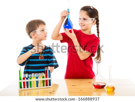 Two smiling kids making chemical experiment, isolated on white