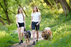 Two smiling teenage girls walking with her dogs in spring park. Friendship concept background