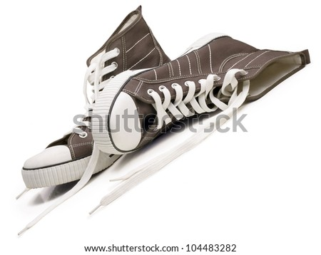 Two sneakers isolated on a white background.