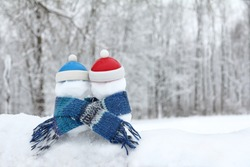 two snowmen in red and blue hats, wrapped in a knitted scarf against the background of a winter landscape. to be friends together is warmer