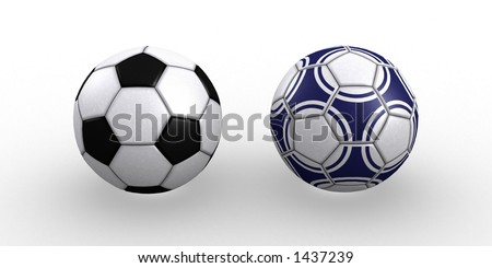 Two soccer balls conceptual 3D rendering isolated white background