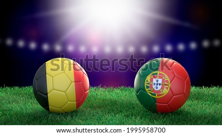 Two soccer balls in flags colors on stadium blurred background. Belgium and Portugal. 3d image Сток-фото ©