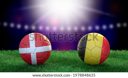 Two soccer balls in flags colors on stadium blurred background. Denmark and Belgium. 3d image Сток-фото ©