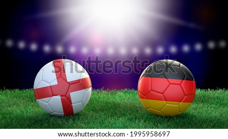 Two soccer balls in flags colors on stadium blurred background. England and Germany. 3d image ストックフォト ©