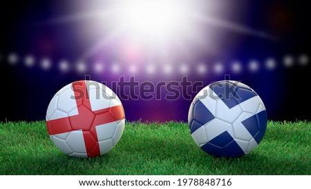 Two soccer balls in flags colors on stadium blurred background. England and Scotland. 3d image