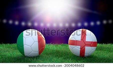 Two soccer balls in flags colors on stadium blurred background. Italy and England. Final. 3d image Foto d'archivio ©