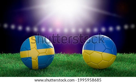 Two soccer balls in flags colors on stadium blurred background. Sweden and Ukraine. 3d image Сток-фото ©