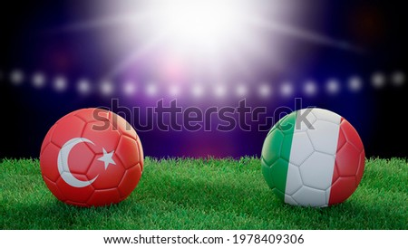 Two soccer balls in flags colors on stadium blurred background. Turkey and Italy. 3d image Foto stock ©
